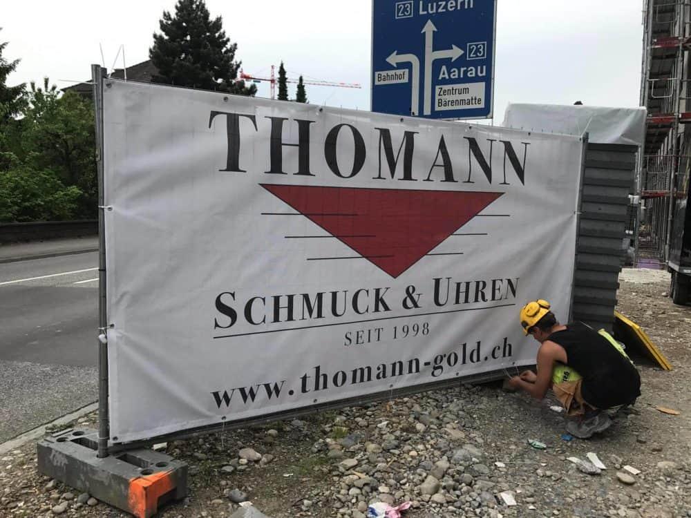 """Unsere neue Reklame Blache an der Bernstrasse Ost 52 """"Suhre Park"""" in Suhr"""